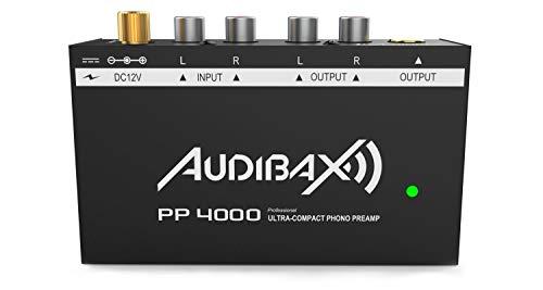 Audibax PP4000 - Preamplificador Phono, Adaptador para Estándar de Salida RIAA, Conectores RCA Estéreo, Conector Jack 6.5, Interruptor ON/Off, Alimentador de Corriente 12V