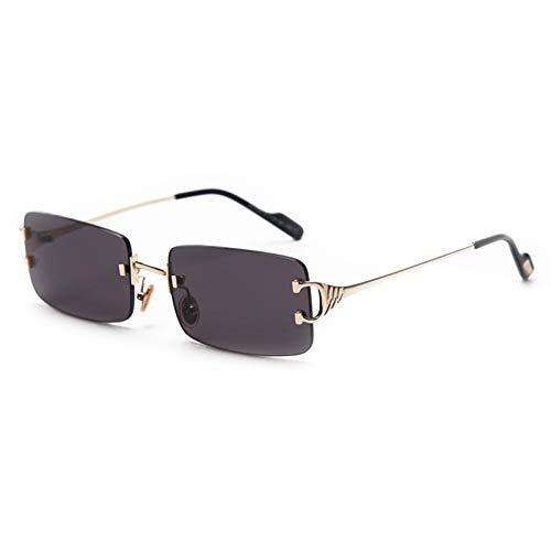 Gafas de sol cuadradas retro para hombres, mujeres, material de aleación de zinc, gafas de sol sin montura rectangulares, ultra pequeñas