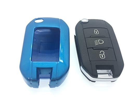 Protex Coque de Protection en Plastique ABS Rigide Finition Brillante pour Clé de Modèles Peugeot GTI 208 2013 2013 2014 2015 2016 et 508 2008 3008 - Bleu