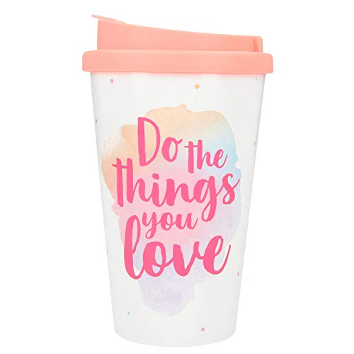 Depesche 2180.012 To-Go Becher aus Kunststoff mit Spruch, 350 ml, Do The Things You Love