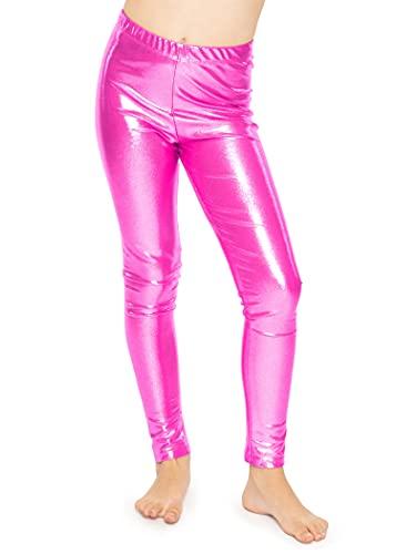 Stretch is Comfort Girl's Metallic Mystique Leggings Hot Pink X-Small