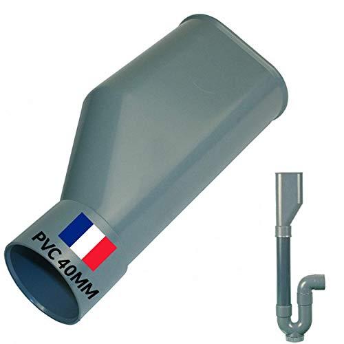 BYMEO Embudo de plástico, sifón doble para desagüe lavadora, conexión para mangueras de PVC 40 mm, fácil de instalar, incluso gracias al PDF de instalación de la marca BYMEO.