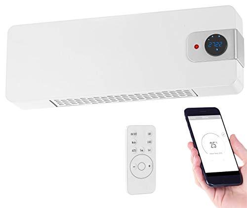 Sichler Haushaltsgeräte Bad Heizung: WLAN-Keramik-Wandheizlüfter, LED-Display, 2.000 W, App, Google & Alexa (WLAN Heizlüfter)