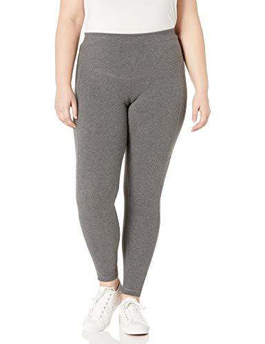 Rainbeau Curves Women's Plus Size Basix Compression Legging, Charcoal, 22/24
