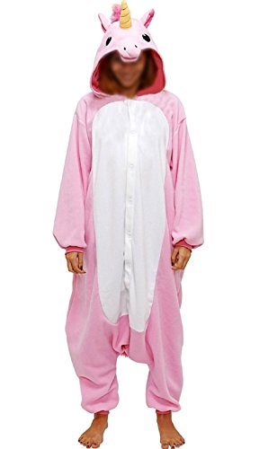 Anebalrui Einhorn Kostüm Tier Jumpsuits Pyjama Oberall Hausanzug Fastnachtskostuem Schlafanzug Schlafanzug Erwachsene Fasching Cosplay Karneval (M, Rosa Einhorn)
