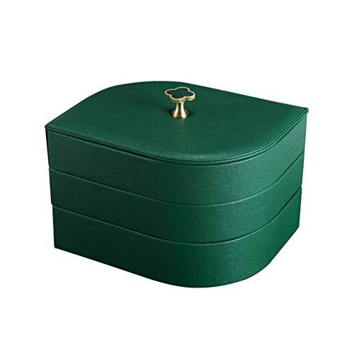 Aiglen Bandeja organizadora de joyas de cuero sintético grande de lujo, 3 capas, caja de almacenamiento de joyas, pendientes, collar, caja de joyería (color: verde)