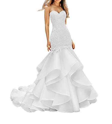 SongsurpriseMall Hochzeitskleider Chiffon Damen Perlen V Ausschnitt Schlüsselloch große Größen Brautkleider Weiß EU44