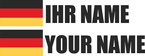 INDIGOS - Aufkleber - Deutschland - Schrift schwarz - Folie - Auto, Ordner, Motorrad, Fahrrad, Wand, Tür, Kühlschrank usw - 90x18 mm - Flagge Name individuell personalisiert