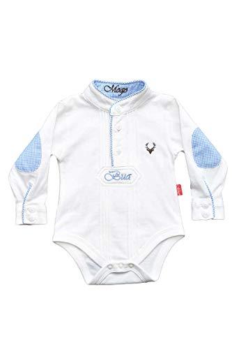 Mogo Baby - Jungen Babybody Pfoad-Hemd weiß blau, WEIß/BLAU (blau), 74/80