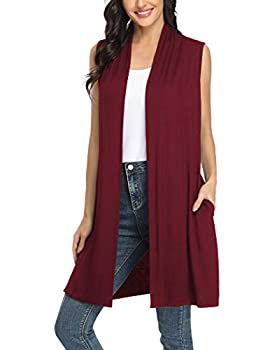 Beyove Women s Draped Vest Sleeveless Shawl Cardigan Wine Red L
