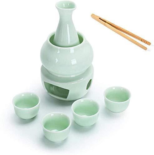 rzoizwko Juego de Sake Caliente de cerámica Japonesa, Juego de Sake con Clip para Taza, diseño Pintado a Mano de Celadon, Regalo para los Amantes del Sake, Apto para 4 Personas