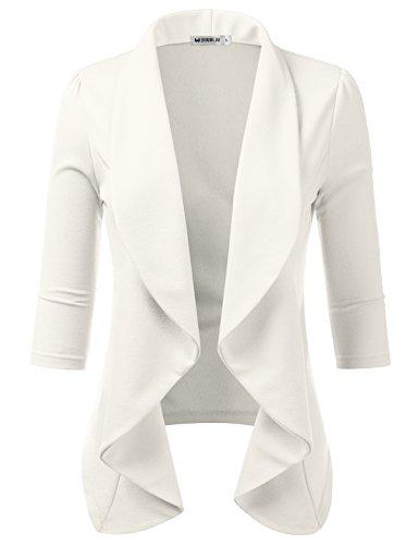 Doublju Womens Lightweight Thin 3/4 Sleeve Open Front Blazer with Plus Size Ivory 2X