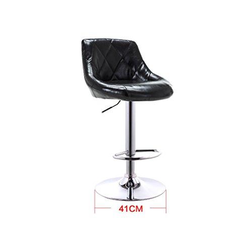 Guo shop- Coussins en cuir artificiel de tissu d'huile européenne bicolore peut être soulevée et abaissée Bar tournant chaise créative européenne tabouret de bar rétro Bonne chaise (Couleur : Noir)