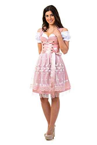 Trachtl.de Dirndl Trachtenkleid Damen Sarah IN ROSA 3.TLG 38