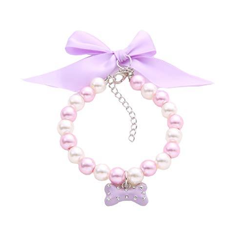 BbearT® Haustierhalsband, verstellbare Schleife Design, Katzen-Halsband, Hund Perlenhalsband für Katzen und kleine Hunde