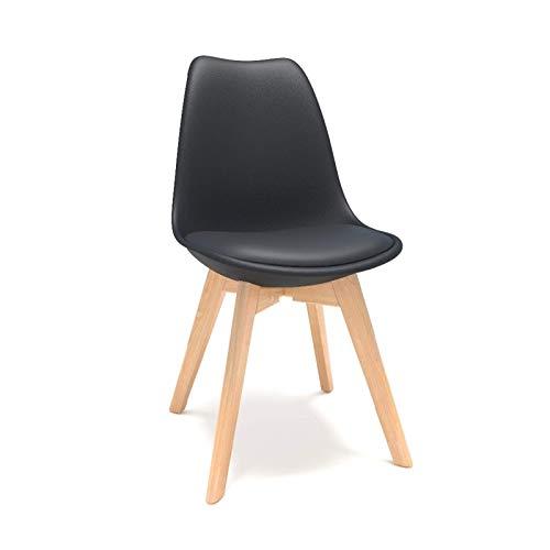 Tägliche Ausrüstung Esszimmerstuhl Schwarz 4-teiliger moderner Kunststoff-Muschel-Esszimmerstuhl mit Buchenholzbeinen Bürostuhl mit Kissenbar-Stuhlstühlen (Farbe: Schwarz Größe: 44,5 x 51,5 x 82 cm