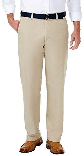 Haggar Men's Stretch Solid Belted Poplin Classic Fit Flat Front Pant, Khaki, 36Wx32L