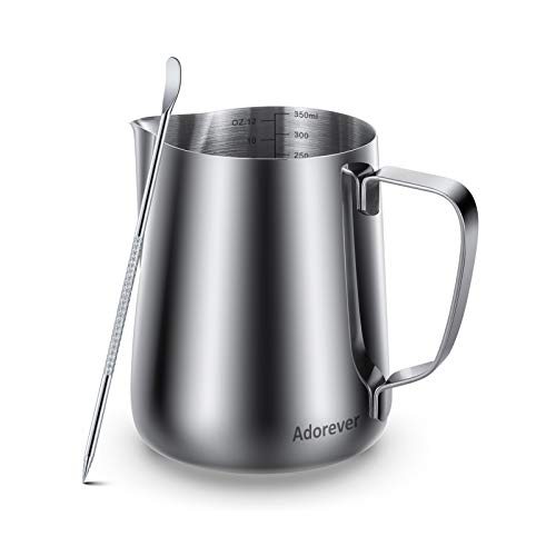 Milk Frothing Pitcher 350ml 600ml 900ml 1500ml 2000m(12oz 20oz 32oz 50oz 66oz)Steaming Pitchers Stainless Steel Milk Coffee Cappuccino Latte Art Barista Steam Pitchers Milk Jug Cup with Decorating Pen
