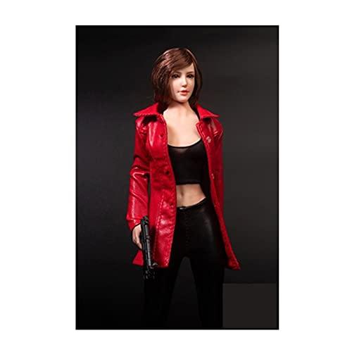 QQAA 1/6 Escala Femenino Personaje Muñeca Disfraz Hecho A Mano Muñeca Ropa Figura Accesorios Accesorios Chaqueta de Cuero de Longitud Media para Mujer para 12 Pulgadas Ma Red-B