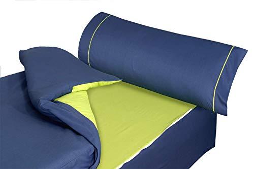 Montse Interiors S.L. - Saco Nórdico Color Azul Marino y Pistacho Liso, Modelo Ribet N, para Cama de 90x190/200