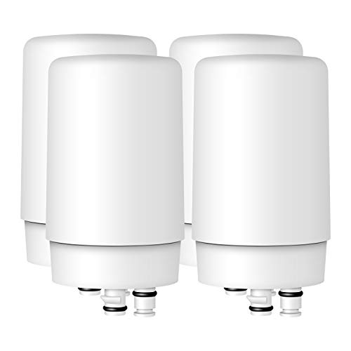 AQUA CREST Faucet Filter Replacement, Replacement for Brita Faucet Filter, Brita 36311 On Tap Water Filtration System, Brita FR-200, FF-100 Replacement Filter, White (Pack of 4)