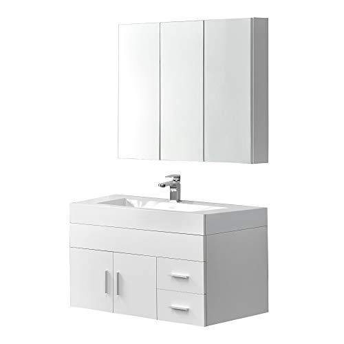 [en.casa]®] Armario de baño Armario de Pared con Espejo Mueble para Debajo de Lavabo Set de Muebles de baño Blanco