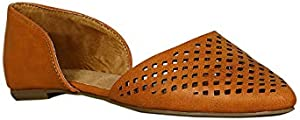 Alrisco Women Leatherette Dorsay Perforated Pointy Toe Slip On Flat RB37