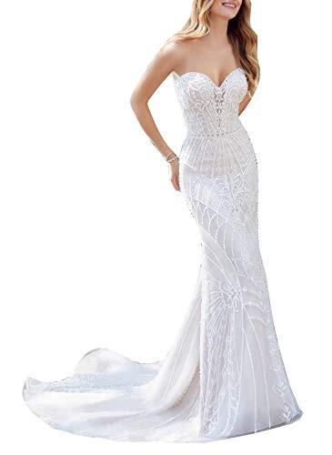 CGown Damen Sweetheart Ausschnitt Spitze Strass Meerjungfrau Hochzeitskleider für Braut mit Zug Brautkleid Ballkleid Gr. 34, elfenbeinfarben