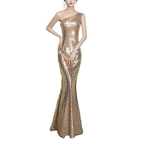 Larga de Cóctel Vestido en,2021 Nuevo Vestido de Hombro de reparación de Temporada Escolar de Regreso-Champagne_44,Mujer Vestidos de Fiesta con Encaje