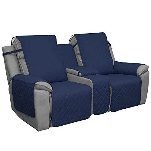 Easy-Going Loveseat Recliner Cover with Console, Reversible Couch Cover for Living Room, Split Sofa Cover for Each Seat with Elastic Straps for Kids, Dogs, Pets(2 Seater, Navy/Ivory)