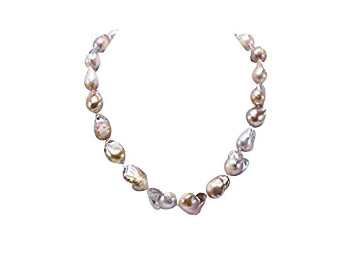 JYX Pearl barock perlenkette perlen barock Halskette aus 12–13,5 mm breiten Süßwasser Barockperlen, Champagnerfarben, (20 Zoll)