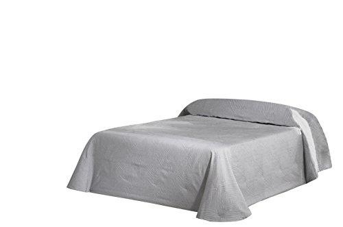 Eysa Bettüberwurf, Polyester, Jaquardgewebe, 235 cm, 75 Prozent, 25 Prozent Baumwolle Piramide Tagesdecke, Silber, 06