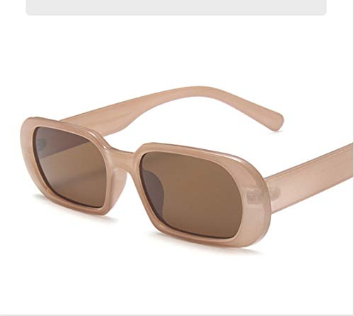 QQGGTongFeng Clásico Marca Pequeñas Gafas de Sol Mujer Moda Oval Sun Glasses Hombres Vintage Vintage Verde Rojo Gafas Damas Estilo Viajando UV400 Gafas para Exterior (Lenses Color : Milk Tea)