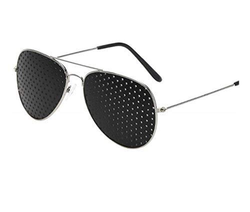 HZX Oulylan Exercise Vision Lochbrille Frauen Männer Sonnenbrille Sehkraft Anti-Myopie Nadelloch Sonnenbrille Unisex , Poröse Brechungsindex Myopie Brille-Silber1St