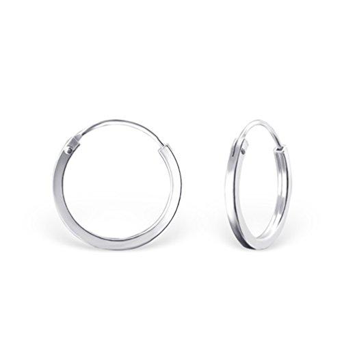 DTPsilver Pendientes de Aro para Mujer - Creoles con Borde Cuadrado - Plata de Ley 925 - Pequeños/Medianos - Espesor 2 mm - Diámetro 16 mm
