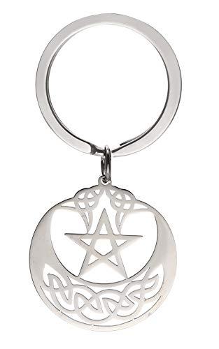 cooltime Schlüsselanhänger aus Edelstahl, irischer keltischer Knoten, Pentagramm, Glücksbringer, Schmuck für Frauen, Pentagramm 2 (Silber) - 20191107