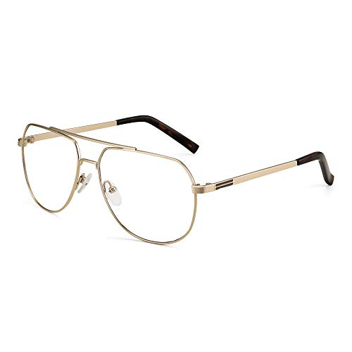 JIM HALO Blue Light Blocking Computer Glasses Reduce Eye Strain Metal Aviator Frame Glasses Men Women Gold