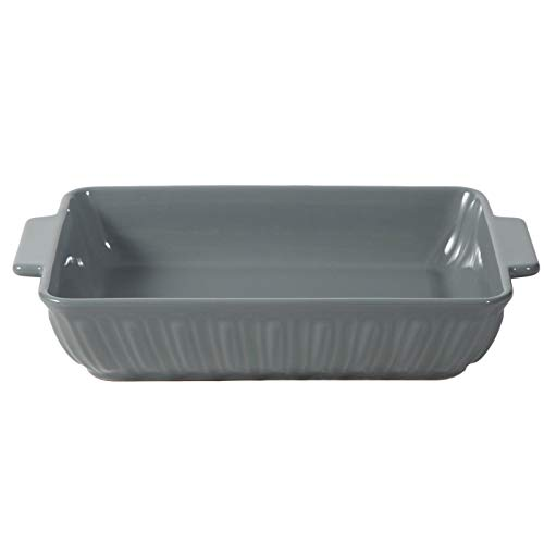 "FE Rectangular Baking Dish with Handles 13.75"" Ceramic Casserole Dish"