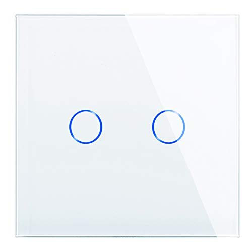 JIMEIDA Double Touch Light Switch White Wall Switch 2 Gang 1 Way, Tempered Glass Panel, No Neutral Wire, AC 240V 500W/Gang