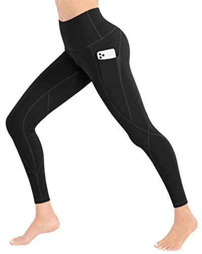 iKeep Leggings with Pockets for Women, Tummy Control Workout Leggings, High Waisted Yoga Pants with Pockets for Women Black