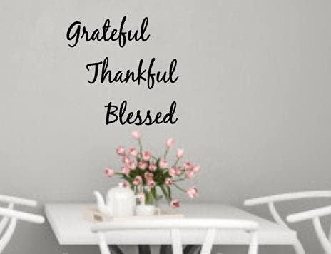 Tamengi Grateful, Thankful, Blessed vinilo adhesivo para pared, decoración para dormitorio, sala de estar, oficina, baño, 22 pulgadas de ancho