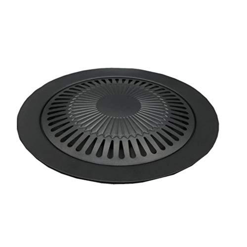 Z-NING Gasgrill Koreanische Grillplatte Picknick im Freien Rauchfreie Grillhalterung Runde tragbare Antihaft-Pfanne Eisenplatte Grillwerkzeug, schwarz