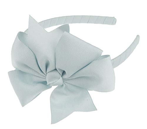 Glamour Girlz Bandeau Alice avec grand nœud en ruban gros-grain pour filles - 1 cm - Argenté