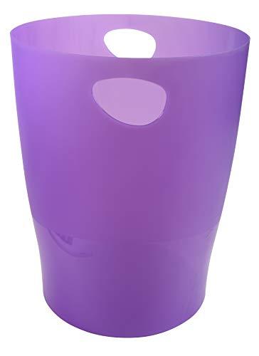 Exacompta 45319D ECOBIN Papierkorb 15 Liter mit Griffen. Eleganter und robuster Papierkorb und Mülleimer im modernen Design violett