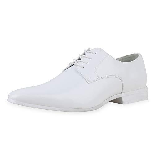 SCARPE VITA Herren Business Schuhe Klassische Schnürer Lederoptik Blockabsatz Schnürschuhe Elegante Arbeitsschuhe 196579 Weiss 41