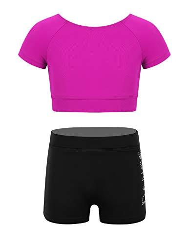 iEFiEL Tuta Sportiva per Bambina Set da Ginnastica Fitness Palestra Vestito da Balletto Tennis Atletica Ragazze 2 PCS Canotta + Pantaloncini Bikini Outfits 3-14Anni Rose Red A 3-4 Anni