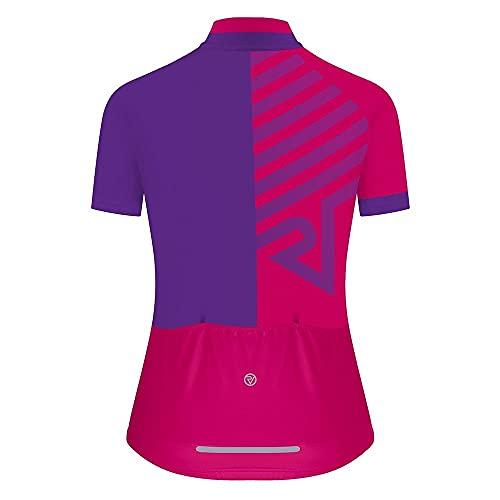 Proviz Classic Women's Hi Viz Reflective Short Sleeve Tour Cycling Jersey Hi Visibility (14, Purple Arrow)