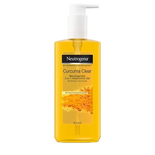 Neutrogena Curcuma Clear Beruhigendes 3-in-1 Abschmink-Gel, Entfernt wasserfestes Make-Up, Reinigungsmousse mit Mizellen-Technologie, Unreine und sensible Haut, 200ml