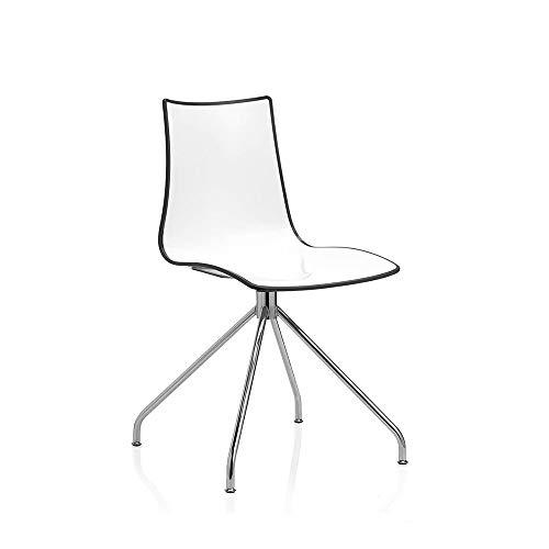 Scab Set 2 Design Zebra Bicolore Chaise pivotante sur Tréteau Gris Anthracite-Blanc