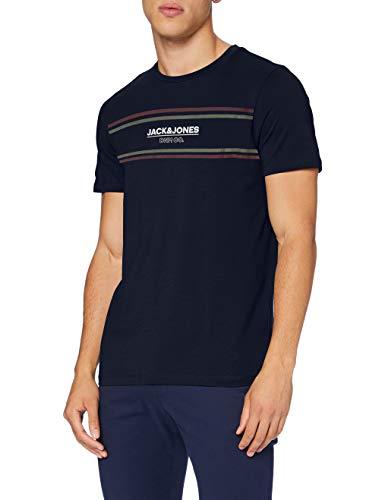 Jack & Jones JJSHAKER tee SS Crew Neck Camiseta, Azul Marino, XL para Hombre